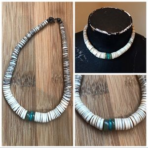 Vintage Shell & Jade & Turquoise Choker Necklace